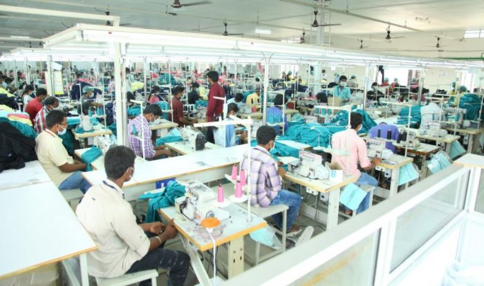 Work at full swing at a garment factory in Tiruppur in Tamil Nadu.