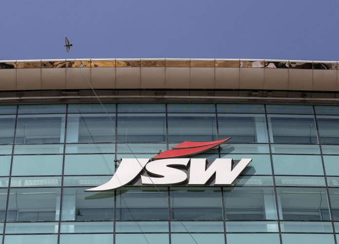 The logo of JSW is seen on the company's headquarters in Mumbai. REUTERS