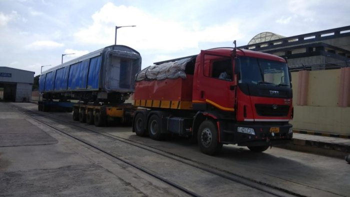 The BMRCL received the second set of intermediate cars on Thursday. DH photo