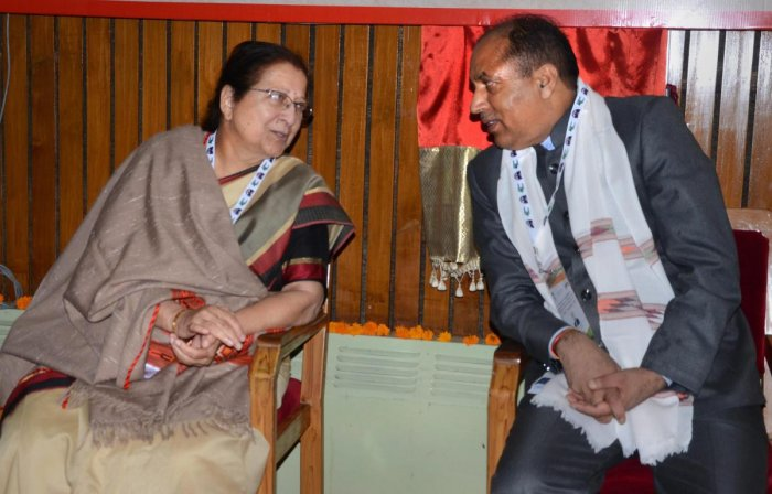 Shimla: Lok Sabha Speaker Sumitra Mahajan with Chief Minister Jai Ram Thakur attends the Commonwealth Parliamentary Association's India Region-IV Conference and Workshop, in Shimla, Saturday, Sep 22, 2018. (PTI Photo) (PTI9_22_2018_000035B)
