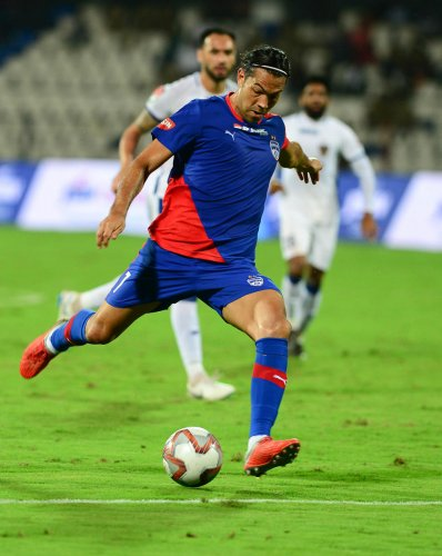 STRONG FINISHER: Miku will be hoping to make it two in two when Bengaluru FC take on Jamshedpur FC on Sunday. DH Photo/ Satish Badiger