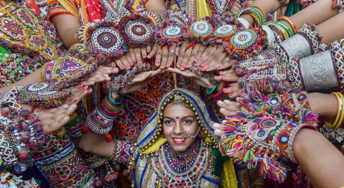 Dancers dressed in traditional attire during the rehearsals for the 'Garba' dance ahead of nine-day Navratri festival. PTI file photo