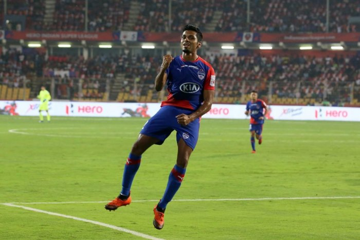 ON A HIGH Bengaluru FC's Rahul Bheke exults after scoring his side's opener against FC Goa. ISL MEDIA