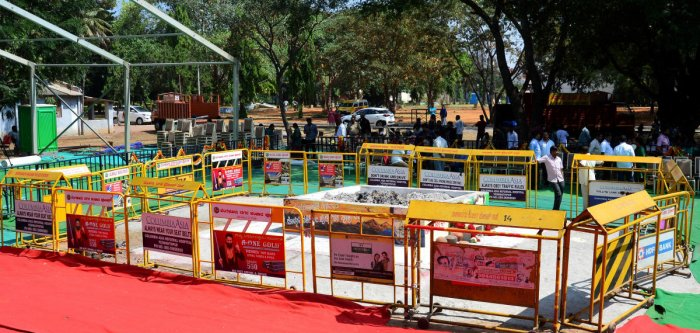 The site where the mortal remains of Ambareesh were consigned to flames at Kanteerava Stadium in Bengaluru on Monday.