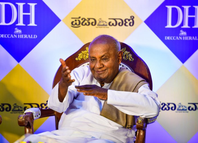 Fomer prime minister H D Deve Gowda during his interaction with Deccan Herald-Praja Vani.
