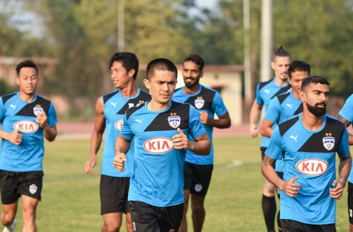 ALL SET Sunil Chhetri leads the BFC players through a training session in Guwahati on Wednesday. BFC media