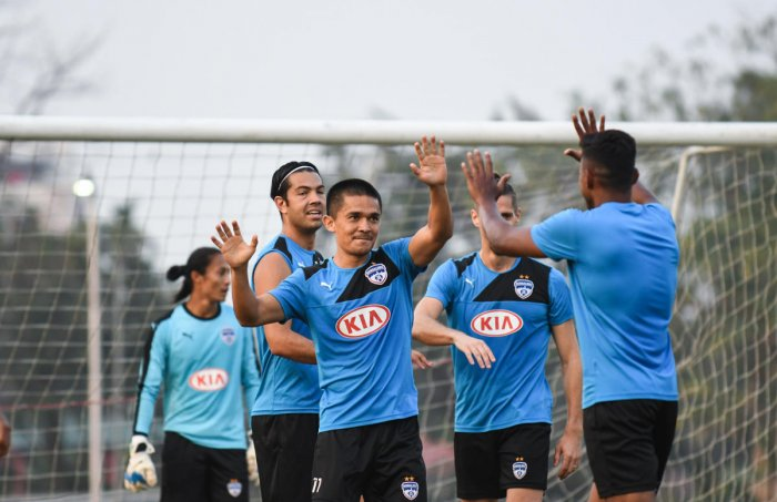 Bengaluru FC players during a training session on the eve of their ISL semifinal second-leg clash against NorthEast United FC at the MEG ground on Sunday. BFC MEDIA