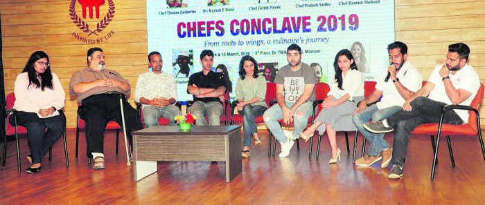 Chefs take part in an interaction during the two-day Chefs Conclave 2019 organised by Department of Culinary Arts, Welcomgroup Graduate School of Hotel Administration at the  Dr TMA Pai auditorium in Manipal on Thursday.