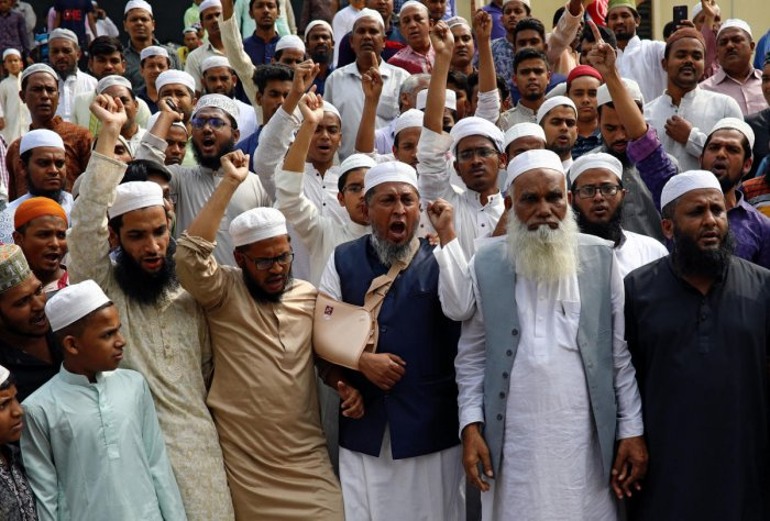 Muslims shout slogans as they condemn the Christchurch mosque attack in New Zealand, after Friday prayers at the Baitul Mukarram National Mosque in Dhaka. Reuters file photo