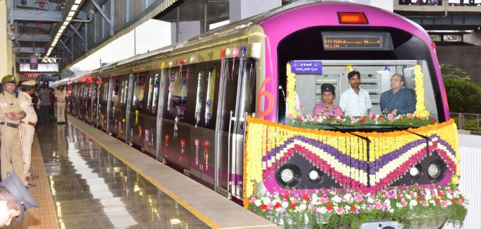 Namma Metro's six-car train was introduced last month. DH Photo