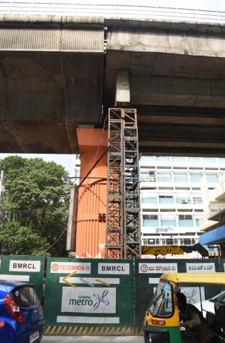 Repair work being conducted on pillar no 155 has moved near the Trinity Metro station.