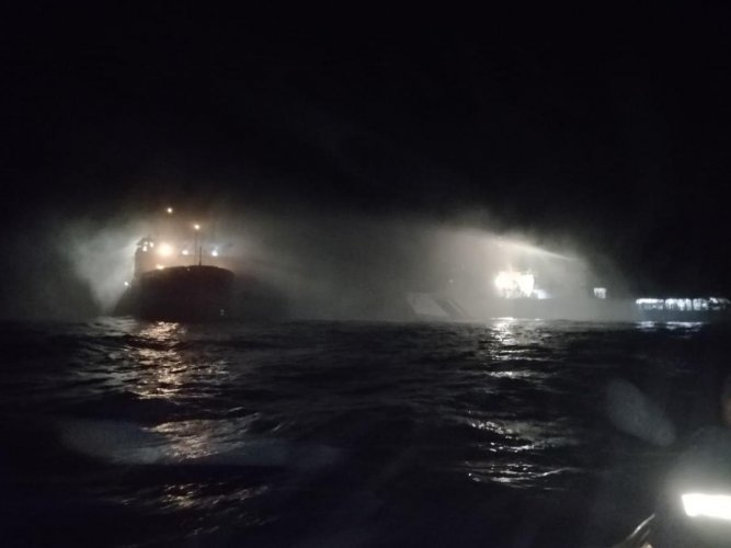 A major fire broke out at a research vessel of Shipping Corporation of India of the New Mangalore coast along Karnataka. DH photo