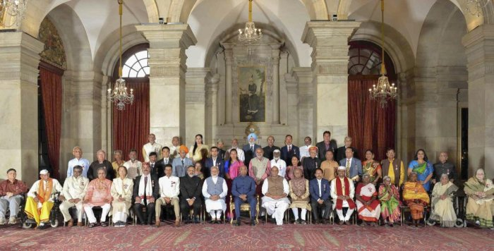 President Ram Nath Kovind, Prime Minister Narendra Modi and other dignitaries in a group photograph with awardees at Padma Awards 2019 function at Rashtrapati Bhavan, in New Delhi. PTI photo