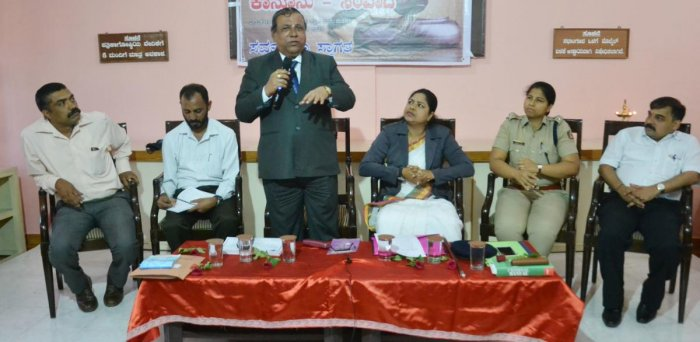 Principal District and Sessions Judge Veerappa V Mallapure speaks during an interactive programme at the Press Club in Madikeri recently.