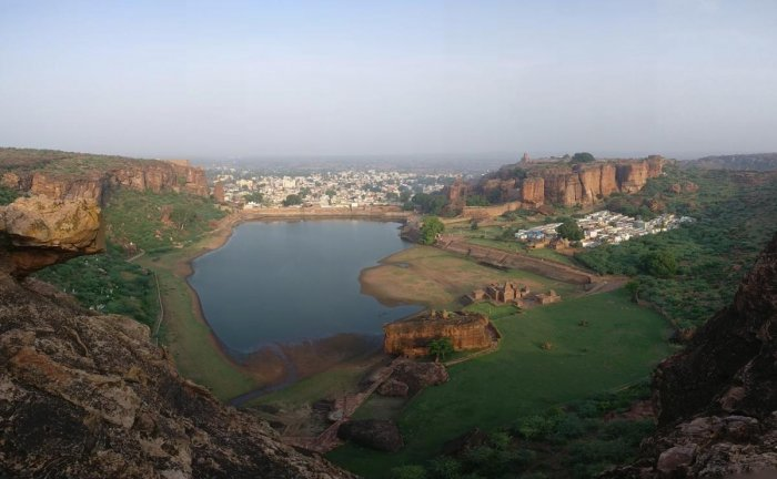 landscape of dreams: A panoramic view of Badami; (below) the open mantapas at Badami; a closer view of the mantapas. photos by author