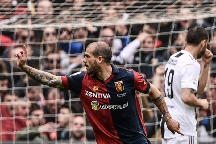 BOLT FROM THE BLUE: Genoa's Stefano Sturaro celebrates after scoring the opening goal against Juventus on Sunday. AFP