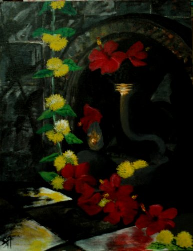 Sreekar loves using earthy colours like shades of red, yellow and brown in his works.