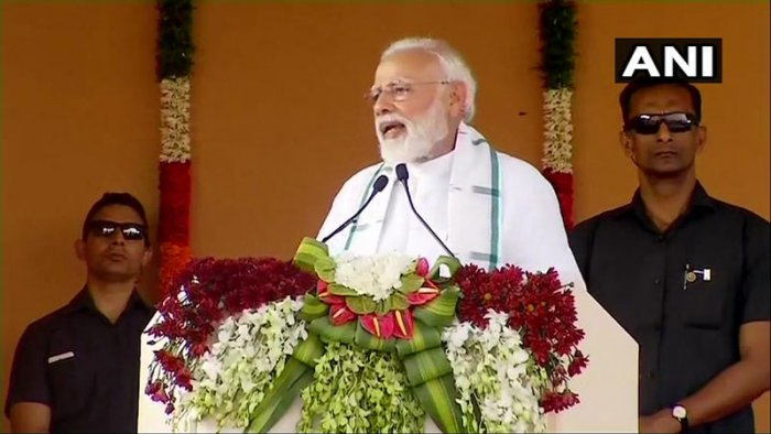"While addressing a rally in Kanchipuram, Tamil Nadu, Modi said, ""We have decided to rename the Chennai Central Station after the great MG Ramachandran. We are also seriously thinking about ensuring that flights to and from Tamil Nadu have in-flight announcements in the Tamil language"". (Image: ANI/Twitter)"