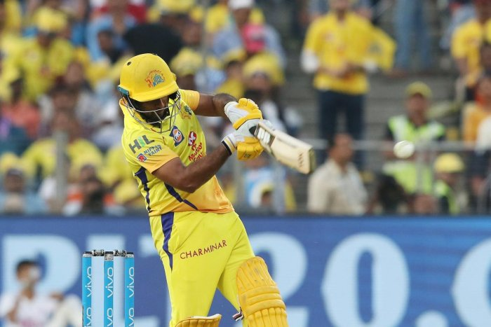 IN FINE TOUCH: Chennai Super Kings' Ambati Rayudu pulls one to the fence en rout to his 100 against Sunrisers Hyderabad in Pune on Sunday. AFP