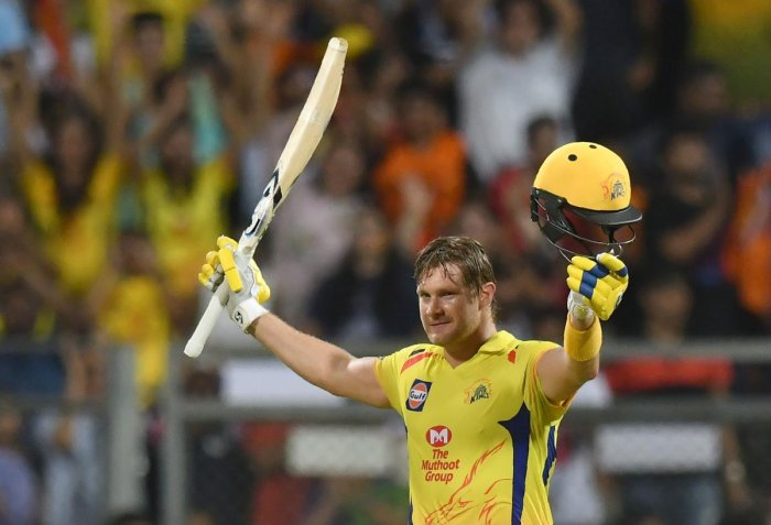 Chennai Super Kings' Shane Watson celebrates after scoring a century in the IPL final against Sunrisers Hyderabad on Sunday. AFP