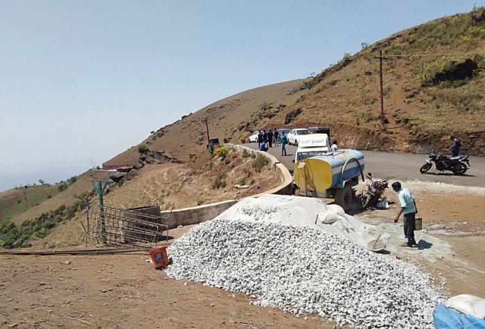 The work on a watchtower in progress at Mullayanagiri.