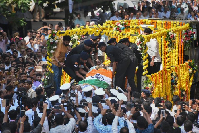 Mortal remains of Goa Chief Minister Manohar Parrikar being taken to BJP office from his residence, in Panaji, Monday, March 18, 2019. (PTI Photo)