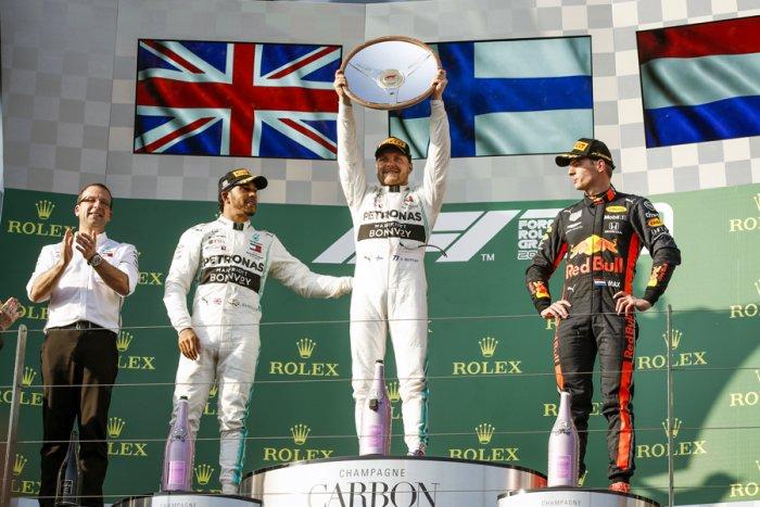 Mercedes driver Valtteri Bottas on the Australian Grand Prix podium with team-mate Lewis Hamilton and Max Verstappen. Picture credit: Mercedes