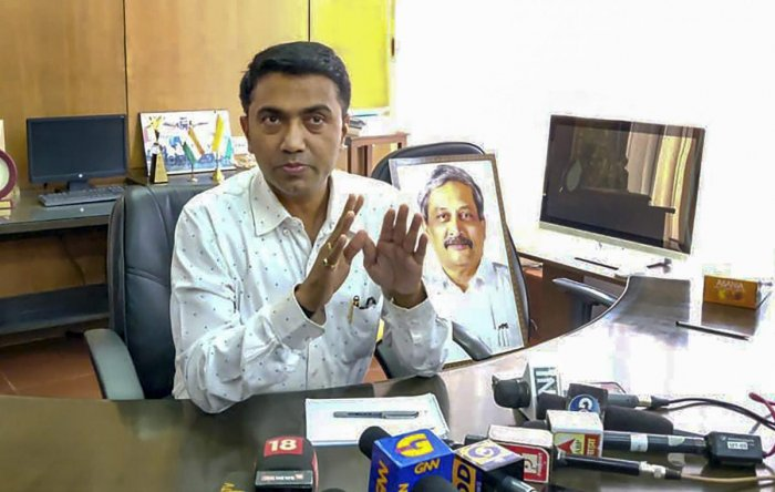 Newly sworn-in Goa Chief Minister Pramod Sawant takes charge at his office, in Panaji. PTI photo