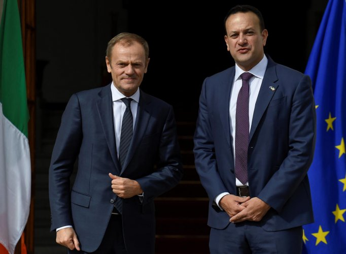 Prime Minister (Taoiseach) of Ireland Leo Varadkar meets with President of the European Council Donald Tusk in Dublin, Ireland. Reuters photo