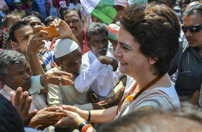 Congress General Secretary UP-East Priyanka Gandhi Vadra meets supporters during her visit to former prime minister Lal Bahadur Shastri's memorial, at Ramnagar, in Varanasi. (PTI Photo)