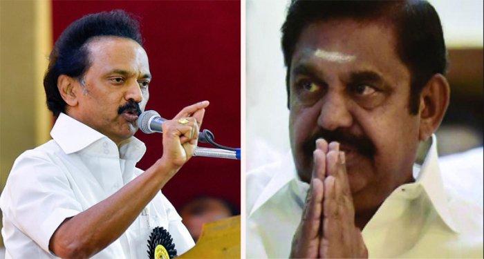 DMK President MK Stalin and Tamil Nadu CM Edappadi K Palaniswami. File photo