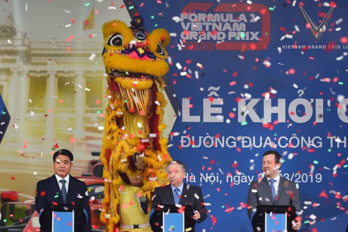 FIA President Jean Todt (centre) during the foundation stone laying ceremony for the Vietnam Grand Prix in Hanoi. Picture credit: AFP