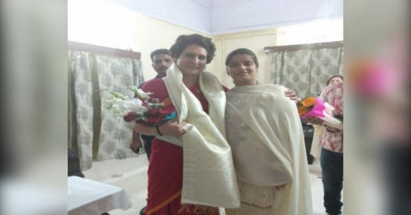Amrita Pandey,the daughter-in-law of Jeetendra Nath Pandey, joined the Congress in Varanasi, the Lok Sabha constituency of prime minister Narendra Modi, in the presence of Congress general secretary Priyanka Gandhi Vadra. Photo via social media.