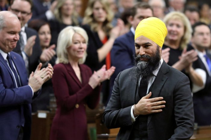 Singh, 40, the leader of the New Democratic Party, placed his hand over his heart as he walked into the House of Commons. Reuters File Photo