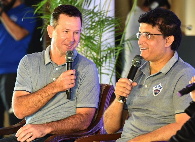 Delhi Capitals special adviser Sourav Ganguly (right) and coach Ricky Ponting at a press conference in New Delhi on Tuesday. AFP