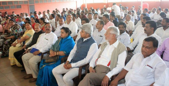 Congress leaders and workers take part in the election preparation meeting held in Madikeri on Wednesday.