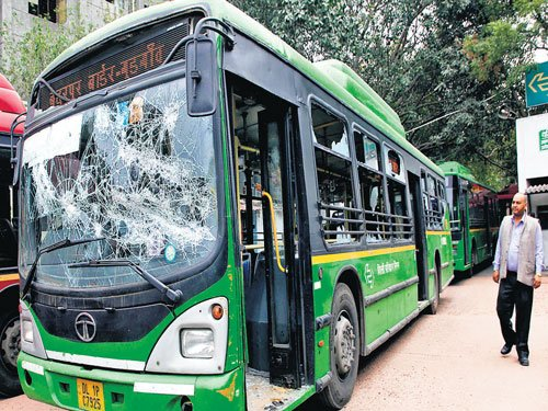 Mob torches DTC bus after schoolboy dies in accident