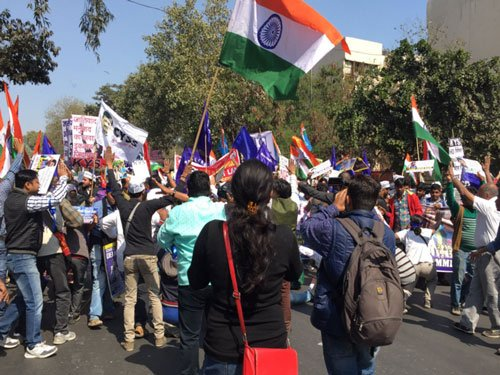 Students march for Rohith, JNU; Rahul, Kejriwal join them