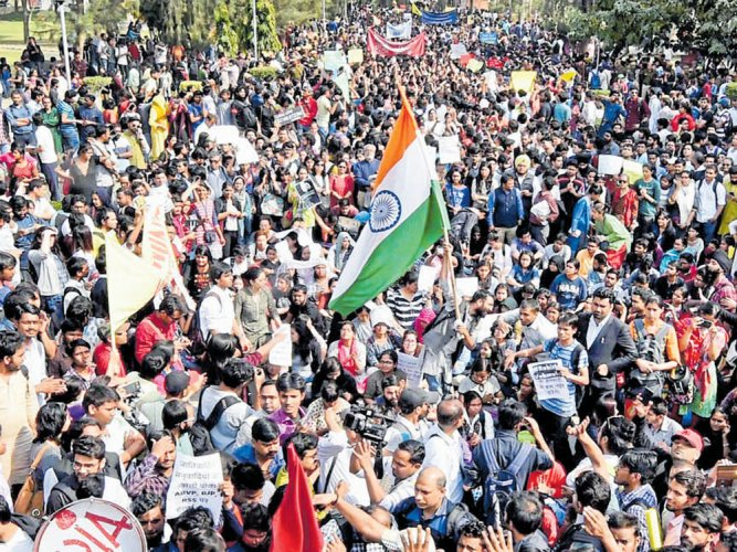 Students from JNU, DU march against ABVP