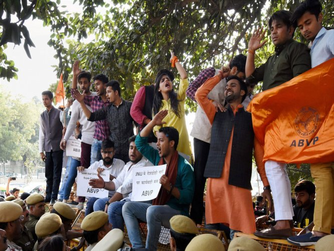 ABVP demands filing of charge sheet against 3 JNU students