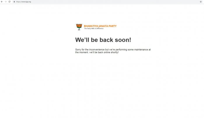 A screen grab of the Bharatiya Janata Party (BJP) website which was taken offline after the hackers allegedly defaced the site on March 5, 2019.
