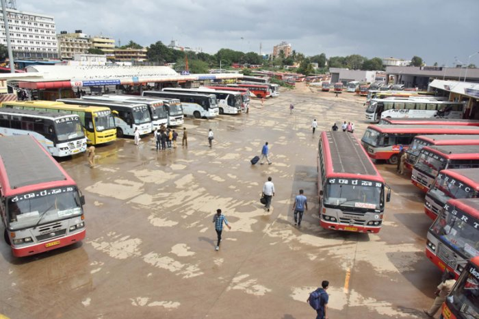 As KSRTC bus services were stopped, several passengers were stranded at the Kempegowda Bus Station. (DH Photo)