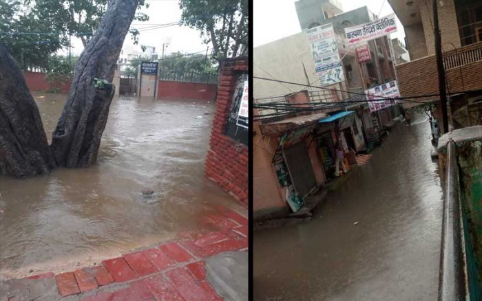 Several residents took to Twitter to share their experiences and posted photos of waterlogging and jams. (Images from Twitter)