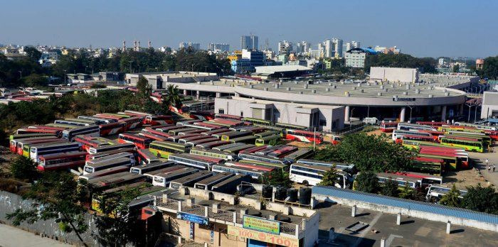 KSRTC buses parked inside the Kempegowda Bus Station in Bengaluru on Tuesday, the first day of the two-day Bharath bandh called by several organisations. DH Photo/Ranju P