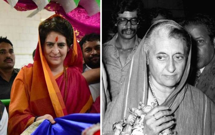Priyanka Gandhi's recent trip to Eastern UP reveals she wants to revive Indira's pan-community support base. (PTI & DH Archive)