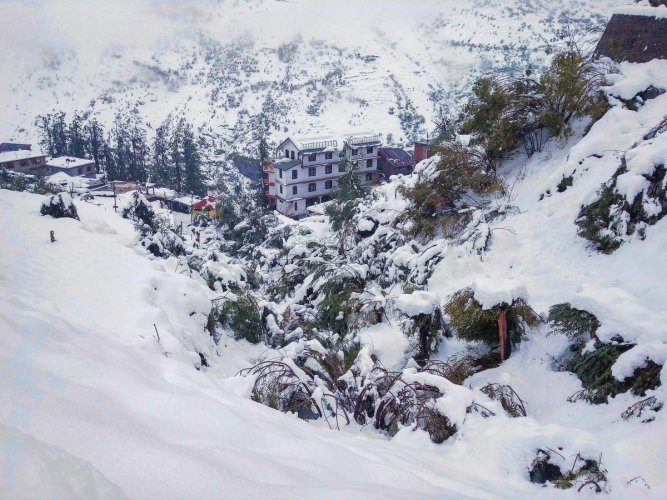 A view of a snow-covered hill at Keylong in Lahaul-Spiti district. (PTI photo)