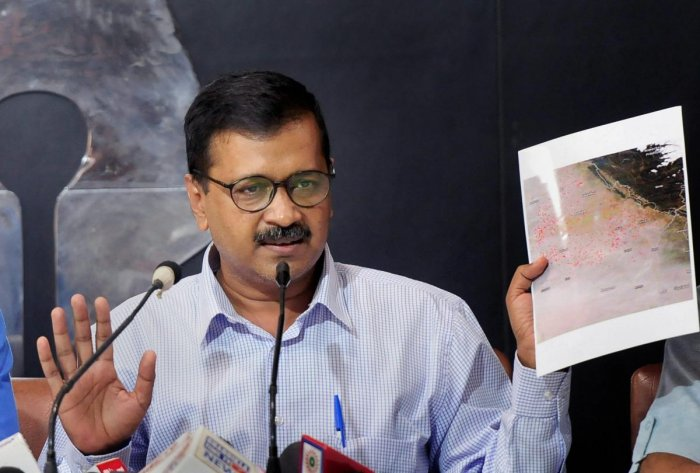 Delhi Chief Minister Arvind Kejriwal addresses reporters from Chandigarh, Punjab and Haryana and AAP party members, at the Chandigarh Press Club on Thursday. PTI