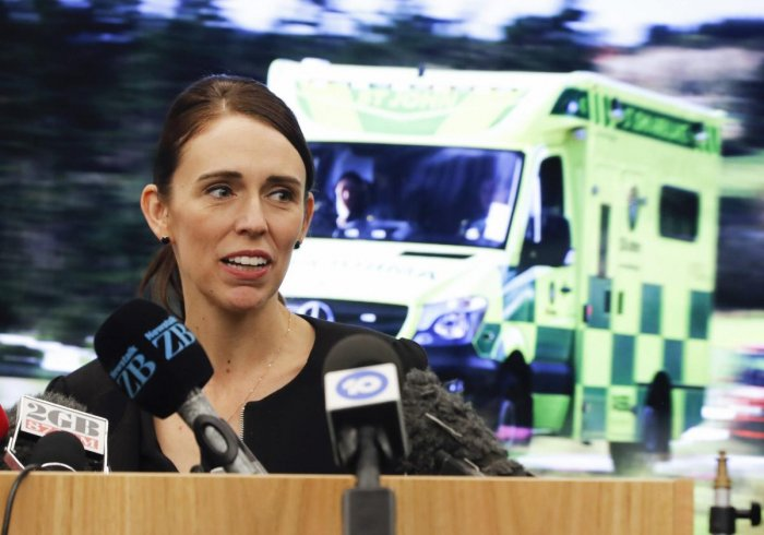 New Zealand's Prime Minister Jacinda Ardern speaks during an event to meet the first responder in the March 15 mosque shooting, in Christchurch. AP/PTI