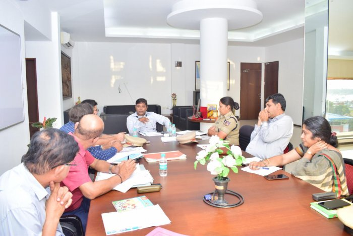 Deputy Commissioner Sasikanth Senthil chairs a meeting of the district-level Road Safety Committee at his office in Mangaluru on Wednesday.