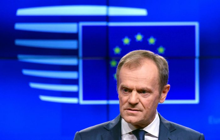 """""""I believe a short extension will be possible but it will be conditional on a positive vote on the withdrawal agreement in the House of Commons,"""" Tusk told reporters, a day before leaders were to gather in Brussels for a crucial summit. (Reuters Photo)"""